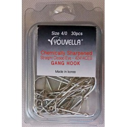 Youvella Gang Hook Value pac Box 30 Straight Close Eye